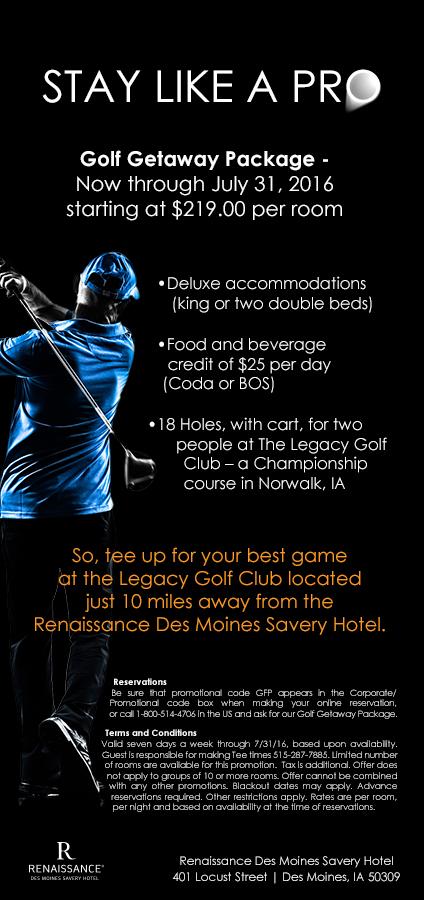 Des Moines Renaissance Savery Hotel Golf Promo